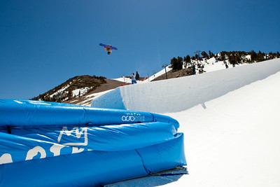 Kelly Clark training on Mammoth Mountain's Unbound Terrain Park halfpipe into an airbag. (Mammoth Mountain : Peter Morning)