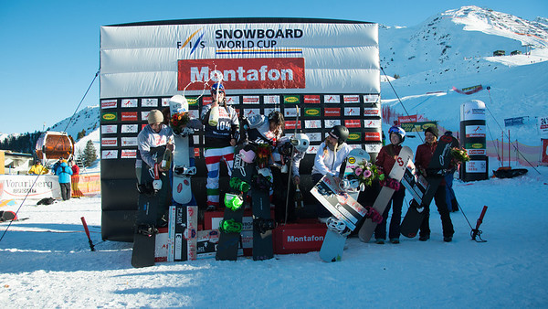 2013 FIS Snowboardcross World Cup - Montafon, Austria Women's Team podium Callan Chythlook-Sifsof and Lindsey Jacobellis (2nd) and Michela Moioli (ITA), Raffaella Brutto (ITA), Nelly Moenne Loccoz (FRA), Chloe Trespeuch (FRA), Zoe Bergermann (CAN), Carle Brenneman (CAN) Photo © Oliver Kraus/FIS Photo may be used for editorial use only