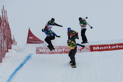 2013 FIS Snowboardcross World Cup - Montafon, Austria Quarter final #2 men at SBX World Cup Montafon: Lluis Marin Tarroch (AND) in blue, Michele Godino (ITA) in white, Jarryd Hughes (AUS) in green, Mick DIerdorff (USA) in red, Xevier de le Rue (FRA) in yellow Photo © Oliver Kraus/FIS Photo may be used for editorial use only
