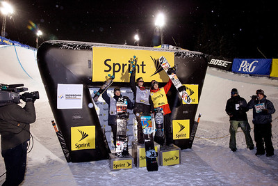 Men's podium (l-r): Ben Ferguson - USA (3rd), Taylor Gold - USA (1st) and Greg Bretz - USA (2nd) 2013 Sprint U.S. Snowboarding Grand Prix at Copper Mountain, Colorado. FIS World Cup Halfpipe snowboarding finals Photo: Sarah Brunson/U.S. Snowboarding