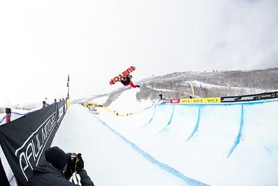 Xuetong Cai Halfpipe finals 2015 Sprint U.S. Snowboarding Grand Prix at Park City Mountain Resort, Park City, Utah. Photo: USSA