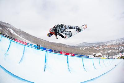 Greg Bretz Halfpipe finals 2015 Sprint U.S. Snowboarding Grand Prix at Park City Mountain Resort, Park City, Utah. Photo: USSA