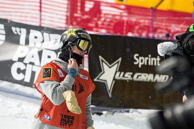 Gabe Ferguson Halfpipe finals 2015 Sprint U.S. Snowboarding Grand Prix at Park City Mountain Resort, Park City, Utah. Photo: USSA