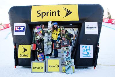 (l-r) Arielle Gold, Kelly Clark and Hannah Teter 2014 Sprint U.S. Snowboarding Grand Prix at Copper Mountain, CO Halfpipe snowboarding finals Photo: Sarah Brunson/U.S. Snowboarding