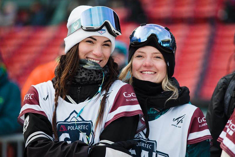 Karly Shorr and Jesskia Jenson<br /> Snowboard qualifiers<br /> 2016 Polartec Big Air at Fenway U.S. Snowboarding Grand Prix<br /> Photo: U.S. Snowboarding