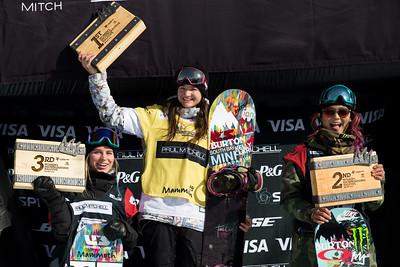 Maddie Mastro, Kelly Clark and Chloe Kim Snowboard halfpipe finals 2016 U.S. Snowboarding Grand Prix at Mammoth Photo: U.S. Snowboarding