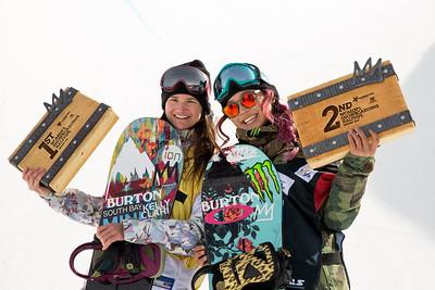 Kelly Clark and Chloe Kim Snowboard halfpipe finals 2016 U.S. Snowboarding Grand Prix at Mammoth Photo: U.S. Snowboarding