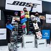 (l-r) Karly Shorr (USA), Anna Gyarmati (HUN), Jessika Jenson (USA)<br /> Snowboard Slopestyl finals<br /> 2016 U.S. Snowboarding Grand Prix at Mammoth<br /> Photo: Sarah Brunson/U.S. Snowboarding
