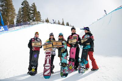 Chase Josey, Kelly Clark, Chloe Kim, Gabe Ferguson, Maddie Mastro Snowboard halfpipe finals 2016 U.S. Snowboarding Grand Prix at Mammoth Photo: U.S. Snowboarding