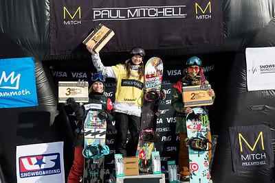 (l-r) Maddie Mastro, Kelly Clark and Chloe Kim Snowboard halfpipe finals 2016 U.S. Snowboarding Grand Prix at Mammoth Photo: U.S. Snowboarding