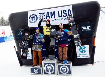 Ryan Stassel, Max Parrot and Sebastien Toutant 2016 Team USA Winter Champions Series - Copper, CO Big Air snowboarding finals Photo: U.S. Snowboarding