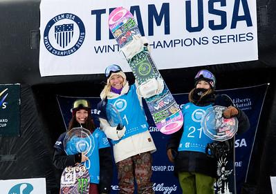 Klaudia Medlova, Jamie Anderson, Enni Rukajarvi 2016 Team USA Winter Champions Series - Copper, CO Big Air snowboarding finals Photo: U.S. Snowboarding