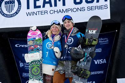 Jamie Anderson and Ryan Stassel 2016 Team USA Winter Champions Series - Copper, CO Big Air snowboarding finals Photo: U.S. Snowboarding