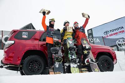 Dylan Thomas, Red Gerard, Kyle Mack Slopestyle snowboarding finals 2017 Toyota U.S. Grand Prix - Snowboarding at Mammoth Mountain, CA Photo: U.S. Snowboarding