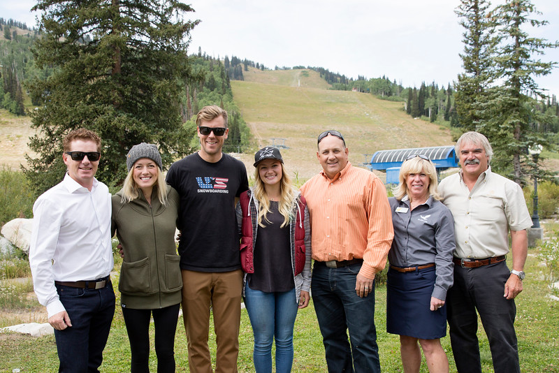 (l-r) Calum Clark (USSA), Faye Gulini (U.S. Snowboarding), Alex Deibold (U.S. Snowboarding), Whitney Gardner (USA Ski Cross), Bill Rock (Park City), Kim Mayhew (Solitude) and Bob Wheaton (Deer Valley Resort)  USSA press conference announcing that Solitude Mountain Resort will host the snowboardcross and ski cross events for the 2019 FIS Freestyle and Snowboard World Championships. In preparation for the World Championships, Solitude will host a test event, featuring a snowboardcross FIS World Cup and Grand Prix skicross event, Jan. 19–22, 2017 Photo: USSA