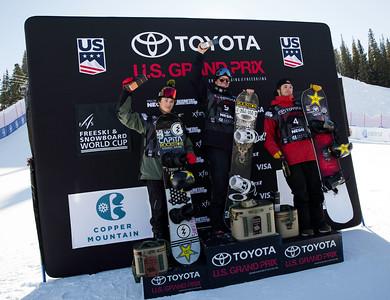 Chandler Hunt, Mons Roisland and Chris Corning Snowboard Big Air Finals 2017 Toyota U.S. Snowboarding Grand Prix at Copper, CO Photo: Sarah Brunson/U.S. Ski & Snowboard