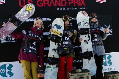 Silje Norendal, Reira Iwabuchi and Julia Marino Snowboard Big Air finals 2017 Toyota U.S. Snowboarding Grand Prix at Copper, CO Photo: Sarah Brunson/U.S. Ski & Snowboard