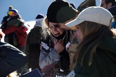 Julia Marino and her coach Mike Ramirez Snowboard Big Air finals 2017 Toyota U.S. Snowboarding Grand Prix at Copper, CO Photo: Sarah Brunson/U.S. Ski & Snowboard