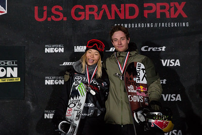 Chloe Kim and Ben Ferguson Snowboard Halfpipe finals 2018 Toyota U.S. Freeskiing Grand Prix at Mammoth Mountain, CA Photo: Sarah Brunson/U.S. Ski & Snowboard