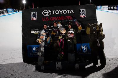 Greg Bretz, Chase Josey and Ben Ferguson Snowboard Halfpipe finals 2018 Toyota U.S. Snowboarding Grand Prix at Mammoth Mountain, CA Photo: Sarah Brunson/U.S. Ski & Snowboard
