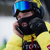 Kyle Mack on the phone with his dad after making the Olympic Team<br /> Snowboard Slopestyle finals<br /> 2018 Toyota U.S. Snowboarding Grand Prix at Mammoth Mountain, CA<br /> Photo: Sarah Brunson/U.S. Ski & Snowboard
