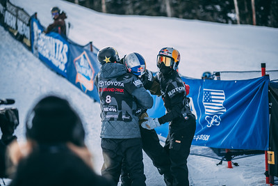 Scotty James, Jake Pates, Toby Miller Snowboard halfpipe finals 2018 Toyota U.S. Snowboarding Grand Prix at Aspen/Snowmass, CO Photo: Ryan Wachendorfer // Editorial use only. For licensing please email: ryan.wachendorfer.vssa@gmail.com