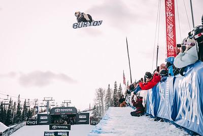 Ben Ferguson Snowboard halfpipe finals 2018 Toyota U.S. Snowboarding Grand Prix at Aspen/Snowmass, CO Photo: Ryan Wachendorfer // Editorial use only. For licensing please email: ryan.wachendorfer.vssa@gmail.com