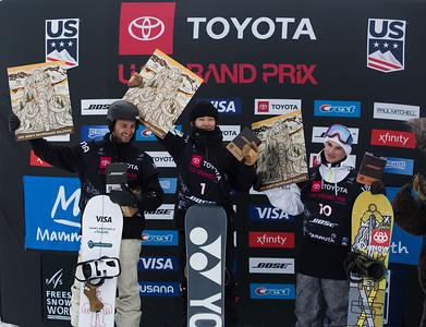 Patrick Burgener, Yuto Totsuka, Derek Livingston Halfpipe snowboard finals 2019 Toyota U.S. Grand Prix at Mammoth Mountain, CA Photo: U.S. Ski & Snowboard