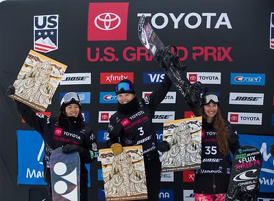 Sena Tomita, Xuetong Cai, Verena Rohrer Halfpipe snowboard finals 2019 Toyota U.S. Grand Prix at Mammoth Mountain, CA Photo: U.S. Ski & Snowboard