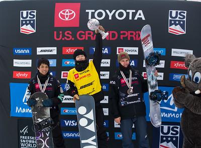 Yuto Totsuka, Jan Scherrer Halfpipe snowboard finals 2019 Toyota U.S. Grand Prix at Mammoth Mountain, CA Photo: U.S. Ski & Snowboard