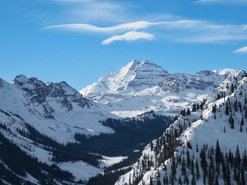 Maroon Bells and valley