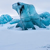 At the frozen edge of the Arctic ocean calved pieces of glacial blue ice take many forms in the imagination