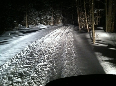 """Corey and Big Ern out enjoying a fresh new 6"""" of power on a midnight ride! January 28, 2013."""