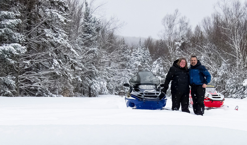 """Ed and Adrienne out for a ride on March 20, 2013 after a good snowfall. We got 12""""+ at the Stone House where the photo was taken!"""