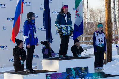 Snowshoeing 2.5 km cross country juvenile female