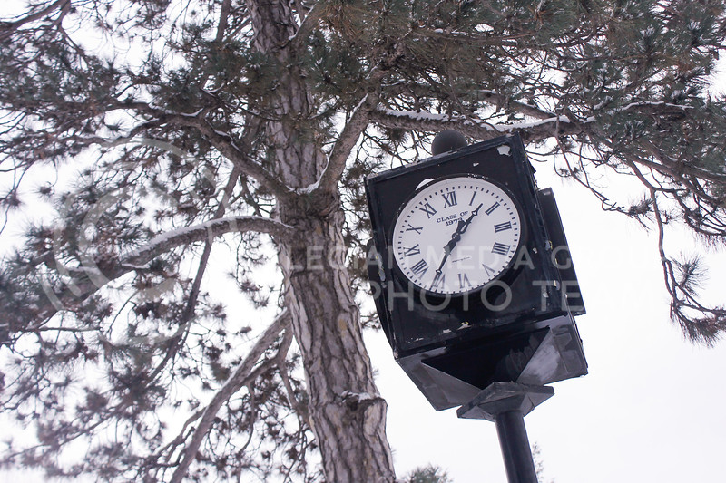 Overnight, snow fell in Manhattan leaving K-State's main campus covered in a white blanket of frosty precipitation on Jan. 27, 2021. However, the COVID-19 prevention plan kept most students online-only for the first two weeks of the semester, leaving the winter wonderland largely undisturbed. (Kaylie McLaughlin | Collegian Media Group)