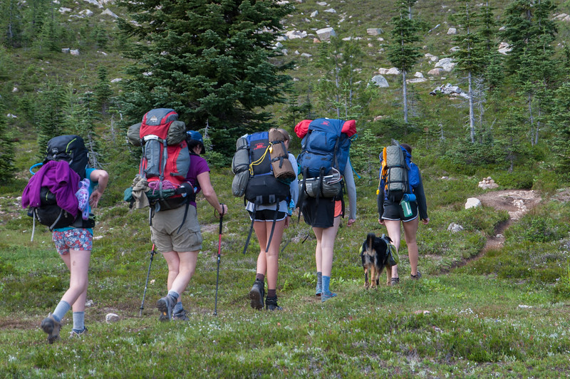 Heading to the final unmarked scramble path to Upper Snowy Lake.