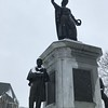 Statues in FItchburg's Monument Park collected a slight coating of snow Sunday.<br /> SENTINEL & ENTERPRISE / Nick Mallard