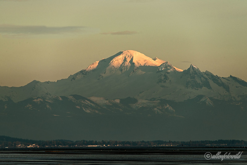 "Mount Baker and Birch Bay catching the setting sun, Delta, BC<br /> <br /> Mount Baker (10,761 feet) is an active volcano (second only to Mount Saint Helens) that last vented in 1975 and 1999.  It is the most heavily glaciated in the Cascade range after Mt. Ranier, and its massive snow cone looks spectacular when it turns pink in the rays of the setting sun. It is also one of the snowiest places in the world; in 1999, the Mount Baker Ski Area, set the world record for snowfall in a single season—an amazing 1,140 inches (equals 95 feet or 29 meters!!).  John Bennett, with 2 others, made an early first attempt to scale the mountain in 1866 - was he related to our SmugMug photographer of the same name?<br /> <br /> Some more snowy owl pics, one with Mount Shuksan in the background, can be seen here <a href=""http://goo.gl/MT3nj"">http://goo.gl/MT3nj</a><br /> <br /> Spent the last 2 days getting the new computer in shape, hopefully getting this 2 month saga finished with and now able to catch up with my commenting, etc."