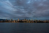City lights at blue hour from English Bay, Vancouver, British Colulmbia