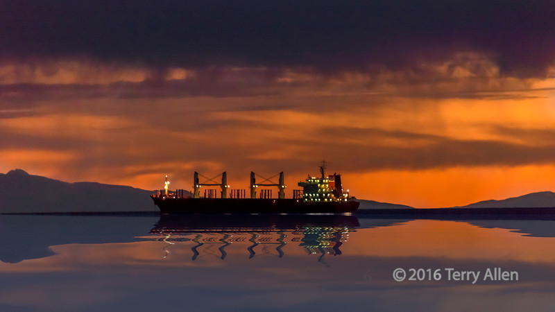 Freigher reflected after sunset