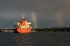 Ship and rainbow, Vancouver, British Columbia