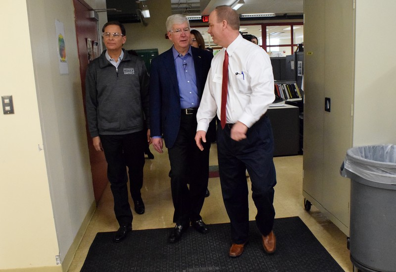 Gov. Rick Snyder and Jay Timmons, president and CEO of the National Association of Manufacturers, tour the Oakland Schools Technical Campus during the annual State of Manufacturing tour in Pontiac on Monday, Feb. 12.