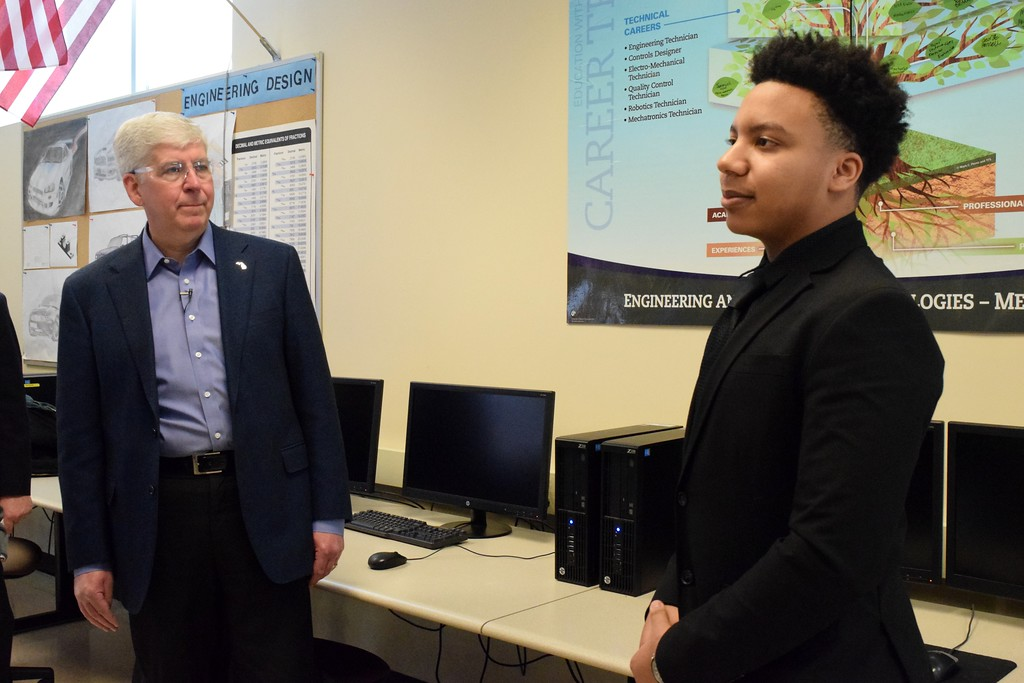 . Gov. Rick Snyder and Jay Timmons, president and CEO of the National Association of Manufacturers, tour the Oakland Schools Technical Campus during the annual State of Manufacturing tour in Pontiac on Monday, Feb. 12.