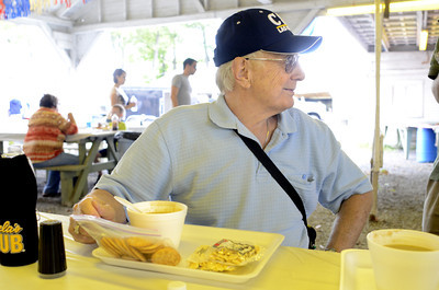 Barry Ramper, Harrisburg, has been coming to the McClure Bean Soup Festival form 75 years now and was enjoying his soup on Sunday.