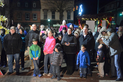 Families take in the annual Christmas tree lighting ceremony in Selinsgrove on Tuesday night.