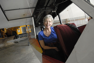 Susan Narehood of Beaver Springs sits in her Piper Super Club during a Snook Saturdays event April 21, 2012.  Narehood earned her pilots licence 20 years ago from a WASP from Williamsport.