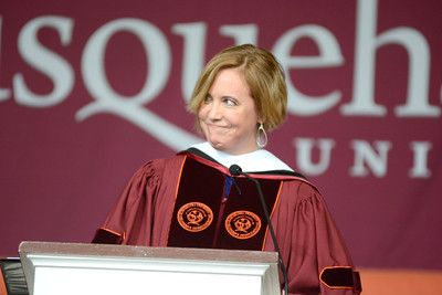 Journalist Kim Barker gave the commencement address at the Susquehanna University graduation on Sunday afternoon.