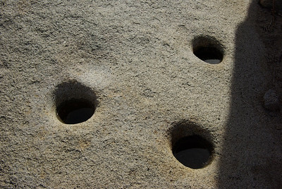 Morteros, the holes in the rocks where Native Americans ground seeds.