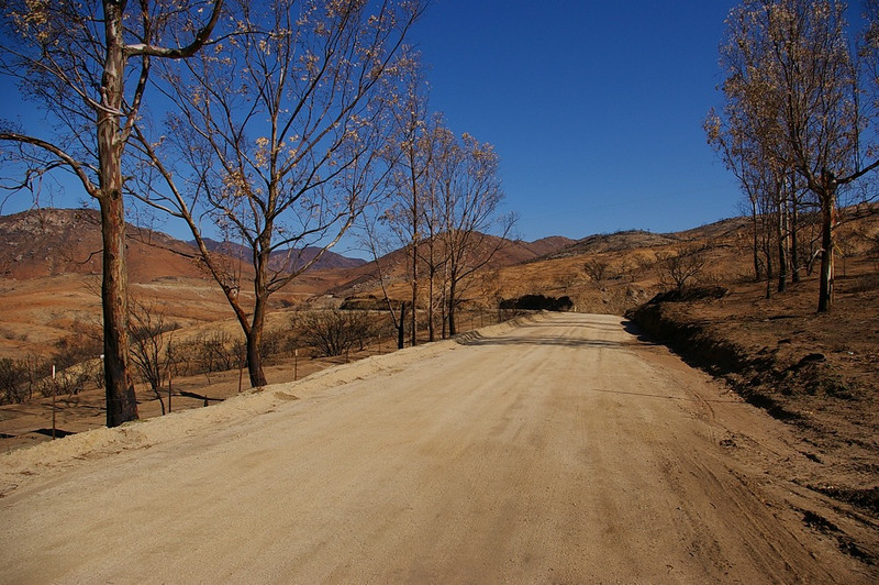 The start of Black Mountain Road, at the end of Magnolia Street outside of Ramona.